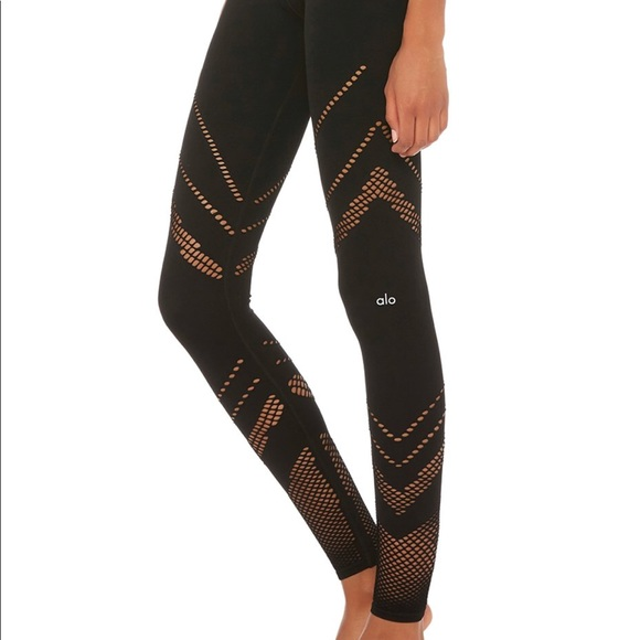 1d92dbba70 ALO Yoga Pants | Alo Black High Waist Seamless Mesh Leggings Sz M ...